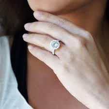 8mm diamond aquamarine ring 8mm large diamond halo engagement ring