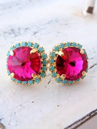 turquoise bridal earrings pink turquoise stud earrings fuchsia turquoise studs