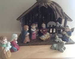 ceramic nativity set etsy