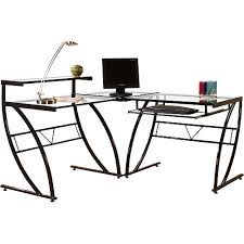 L Shaped Black Glass Desk Florence L Shaped Glass Desk Black And Clear Walmart