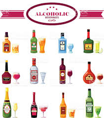 alcoholic drinks clipart alcoholic beverages drinks flat icons set stock vector art