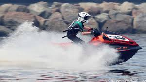 racing kawasaki u0027s 310 horsepower jet ski off the coast of