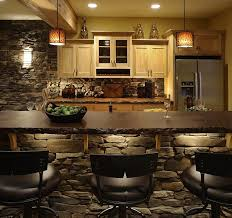 Stone Wall Sconce Kitchen Small Kitchen With Stone Counter Also Leather Stools