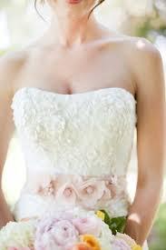 pink wedding gown floral sash elizabeth anne designs the
