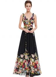 evening maxi dresses v neck sleeveless floral printed evening prom maxi dress