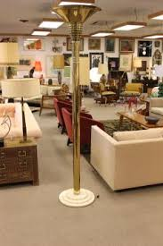 art deco brass lucite torchiere floor lamp marble base springer style