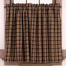 Cafe Tier Curtains Country Red Black Golden Tan Plaid Cambridge Cafe Tier Curtains