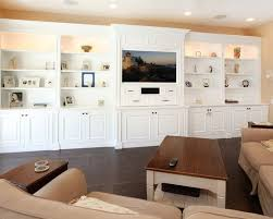 Tremendous Family Room Design Also Elegant White Built In Wall - Family room built in cabinets