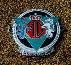 mg car grille badge legends live on mga mgb mgc tc tf midget