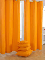 Sale Ready Made Curtains Homescapes Orange Eyelet Curtain Pair 137cm 54