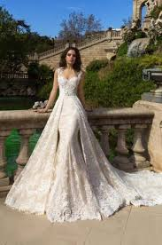 wedding dress with detachable mermaid lace applique wedding dresses with detachable