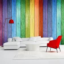 rainbow colored wood board wallpaper modern interior
