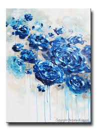 Contemporary Art Home Decor Canvas Print Large Art Blue Abstract Blue White Flowers