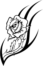 working sheet of a rose tattoo design for kidz coloring point