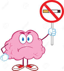 angry brain cartoon character holding up a no smoking sign royalty