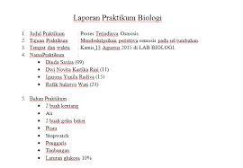 format laporan praktikum contoh format laporan praktikum biologi sederhana