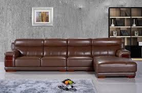 Brown Leather L Shaped Sofa Free Shipping American Furniture Style Modern And Smart Design