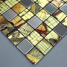 brushed metallic mosaic tiles stainless steel kitchen backsplash 9104