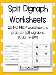 split digraph worksheets literacy english phonics 25 no prep