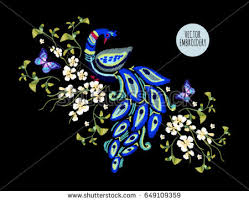 embroidery floral pattern peacock butterflies stock vector