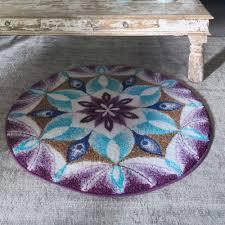 Lilac Rug Gratitude Blue And Purple Mandala Round Rug