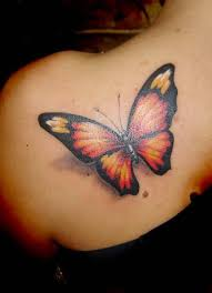 great looking 3d butterfly tattoo design image make on upper side