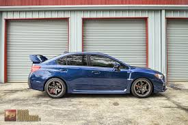 white subaru black rims forged performance u0027s 2015 sti sitting on 18 10 40mm volk racing