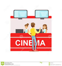 guy buying cinema tickets whom cashiers counter part of happy