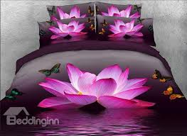 onlwe 3d pink lotus and butterfly printed cotton 4 bedding