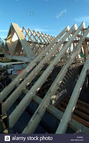 prefabricated roof trusses detached house work in progress fixing prefabricated roof trusses in