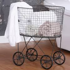 Ideas For Laundry Carts On Wheels Design Top Vintage Style Wire Laundry Basket With Wheels A Cottage In The