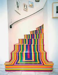 modern floor decoration with strips creating cool rainbow design