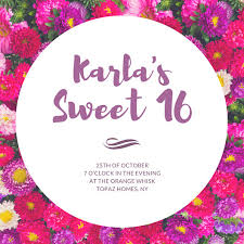 sweet 16th birthday floral invitation card templates by canva