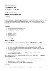 Analyst Resume Examples by Professional Environmental Analyst Templates To Showcase Your