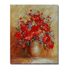 home goods art decor beautiful flower in vase painting handmade home goods oil painting