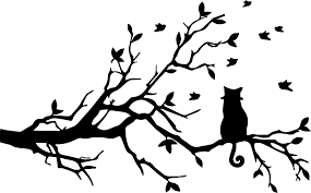 halloween owl silhouette clipart curly tailed cat on tree silhouette