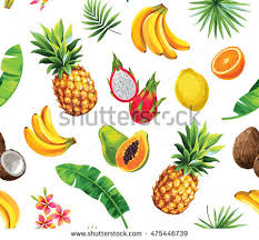 fruits flowers seamless pattern tropical fruits flowers leaves stock vector