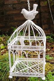 square bird cage 5 x 11 antique white hanging ornamental metal