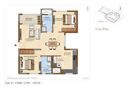 2 Bhk Floor Plans Salarpuria Sattva Divinity 1 2 And 3 Bhk Floor Plans At Mysore