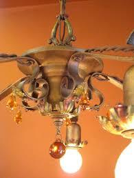 Amber Chandelier 1920s Living Room Chandelier Amber Glass Bells