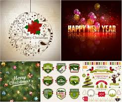 cute 2017 christmas labels and badges vector free download