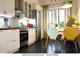 furniture in the kitchen interior kitchen scandinavian style white furniture stock photo