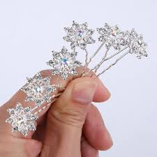 hair brooch design 2016 new design small flowers bridal hair pins set clear
