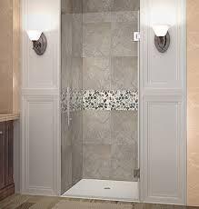 Pictures Of Glass Shower Doors Sdr995 Cascadia Single Panel Completely Frameless Hinged Shower Door
