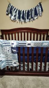 Minky Crib Bedding Baby Boy Crib Bedding Navy Gray Fletching Arrow Moose