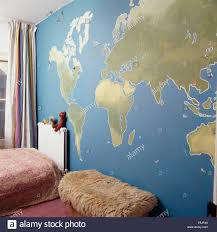 map the world painted wall child seventies bedroom map the world painted wall child seventies bedroom