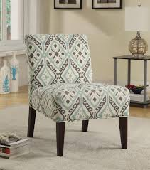 Fabric Accent Chair Coaster 902191 Beige Brown Light Blue Printed Fabric Accent Chair