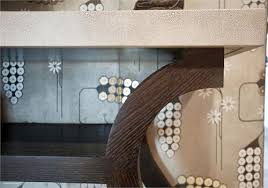 Shagreen Console Table by High End Custom Made Faux Shagreen Console From Aguirre Design Inc