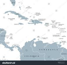 Caribbean Ocean Map by Caribbean Countries Political Map National Borders Stock Vector