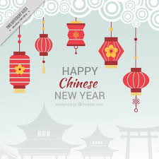 lanterns new year flat background for new year with lanterns vector